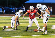 August 25, 2016: Norwalk Truckers defensive players drop  interception attempt during the Thursday Night Season Opener game between the Norwalk Truckers vs Port Clinton Redskins at the Tru-Lay Stadium in Port Clinton, Ohio. FINAL: Norwalk 17 vs. Port Clinton 28