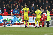 Lewis Young scores during the EFL Sky Bet League 2 match between Crawley Town and Cheltenham Town at the Checkatrade.com Stadium, Crawley, England on 24 March 2018. Picture by Antony Thompson.