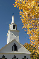 Fall foliage frames white church, Townshend, Vermont