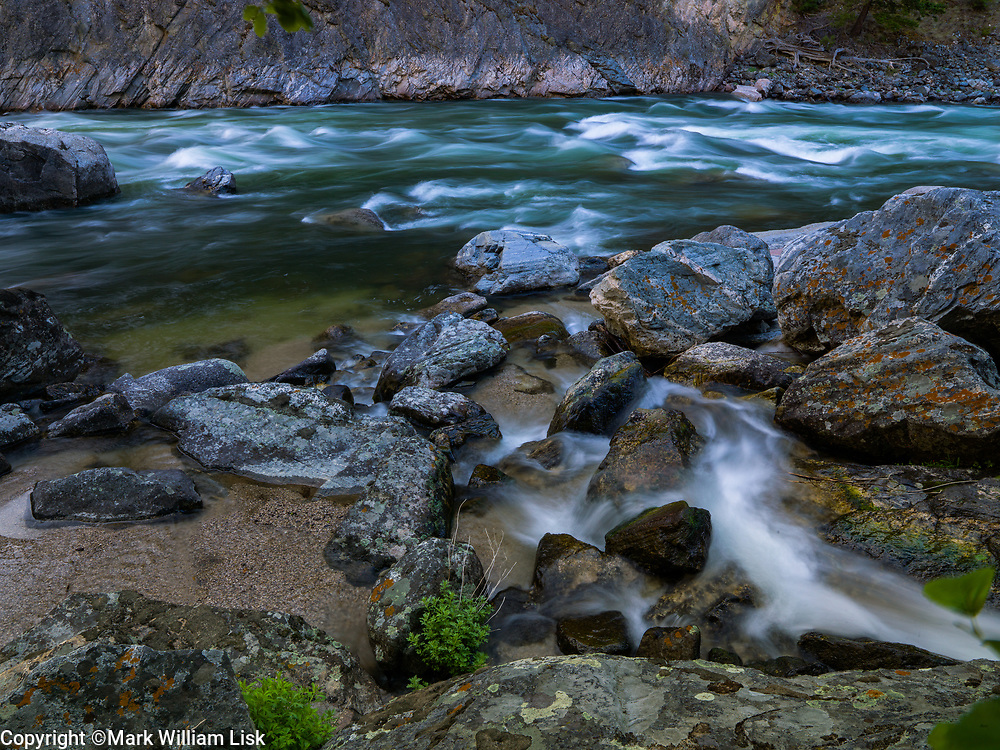 Tumble Creek pushes large boulders into the MF of the Salmon River forming Cliff Side Rapids.