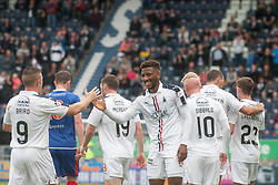 Falkirk's Myles Hippolyte celebrates after scoring their second goal. Falkirk 6 v 1 Elgin City, Irn-Bru Challenge Cup Third Round, played 3/9/2016 at The Falkirk Stadium .