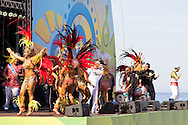 The Grande Rio Samba School perform at the FIFA Fan Fest, Rio de Janeiro, before the Argentina v Belgium World Cup quarter final match which was shown on big screens.<br /> Picture by Andrew Tobin/Focus Images Ltd +44 7710 761829<br /> 05/07/2014