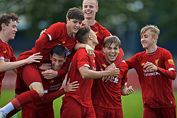 KIRKBY, ENGLAND - Saturday, August 31, 2019: Liverpool's captain Fidel O'Rourke (C) celebrates scoring the second goal during the Under-18 FA Premier League match between Liverpool FC and Manchester United at the Liverpool Academy. (Pic by David Rawcliffe/Propaganda)
