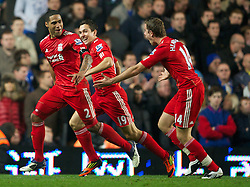 20.11.2011, Stamford Bridge Stadion, London, ENG, PL, FC Chelsea vs FC Liverpool, 12. Spieltag, im Bild Liverpool's Glen Johnson celebrates scoring the second goal against Chelsea with team-mates Stewart Downing and Jordan Henderson during the Premiership match at Stamford Bridge, London, United Kingdom on 20/11/2011. EXPA Pictures © 2011, PhotoCredit: EXPA/ Sportida/ David Rawcliff..***** ATTENTION - OUT OF ENG, GBR, UK *****