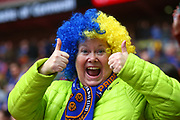 Shrewsbury fan during the EFL Trophy Final match between Lincoln City and Shrewsbury Town at Wembley Stadium, London, England on 8 April 2018. Picture by John Potts.
