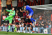 Leicester City Defender, Harry Maguire (15) wins a header during the Premier League match between Bournemouth and Leicester City at the Vitality Stadium, Bournemouth, England on 15 September 2018.
