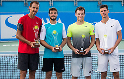 Doubles winners Lukas Rosol (CZE) and Gerard Granollers (ESP) and Runner up Lucas Miedler (AUT) and Nikola Cacic (SRB) celebrate at Trophy ceremony during Day 8 at ATP Challenger Zavarovalnica Sava Slovenia Open 2018, on August 10, 2018 in Sports centre, Portoroz/Portorose, Slovenia. Photo by Vid Ponikvar / Sportida