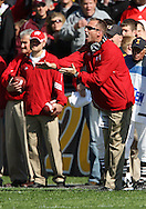 18 OCTOBER 2008: Wisconsin head coach Bret Bielema in the first half of an NCAA college football game against Wisconsin, at Kinnick Stadium in Iowa City, Iowa on Saturday Oct. 18, 2008. Iowa won 38-16.