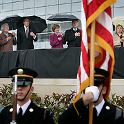 Pres. Bush stands alongside former Presidents George H.W. Bush, William Jefferson Clinton, and Jimmy Carter during the opening of the Clinton Presidential Library Thursday, November 18, 2004, in Little Rock, AR.  Also shown are spouses Roslyn Carter, Barbara Bush, Laura Bush, and Hillary Clinton...Photo by Khue Bui