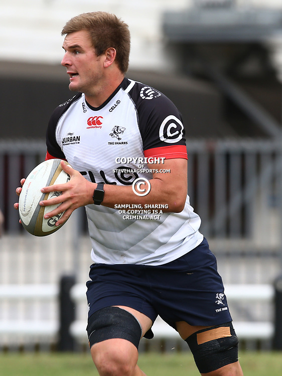 DURBAN, SOUTH AFRICA - AUGUST 22: Tyler Paul  during the Cell C Sharks training session at Growthpoint Kings Park on August 22, 2017 in Durban, South Africa. (Photo by Steve Haag/Gallo Images)