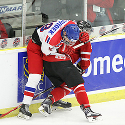 COBOURG, - Dec 13, 2015 -  Game #1 - Czech Republic vs Canada West at the 2015 World Junior A Challenge at the Cobourg Community Centre, ON. Dante Fabbro #8 of Team Canada West makes the hit on Milan Davidek #18 of Team Czech Republic during the first period.(Photo: Tim Bates / OJHL Images)
