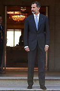 King Felipe VI of Spain attended an official lunch at Palacio de la Zarzuela on November 6, 2017 in Madrid, Spain.