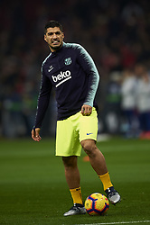 November 24, 2018 - Madrid, Madrid, Spain - Luis Suarez of Barcelona during the warm-up before the week 13 of La Liga match between Atletico Madrid and FC Barcelona at Wanda Metropolitano Stadium in Valencia, Spain on November 24, 2018. (Credit Image: © Jose Breton/NurPhoto via ZUMA Press)