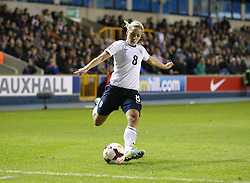 England's Jordan Nobbs (Arsenal) crosses the ball - Photo mandatory by-line: Robin White/JMP - Tel: Mobile: 07966 386802 26/10/2013 - SPORT - FOOTBALL - The Den - Millwall - England Women v Wales Women - World Cup Qualifier - Group 6