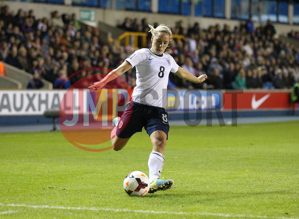 England's Jordan Nobbs (Arsenal) crosses the ball - Photo mandatory by-line: Robin White/JMP - Tel: Mobile: 07966 386802 26/10/2013 - SPORT - FOOTBALL - The Den - Millwall - England Women v Wales Women - World Cup Qualifier - Group 6