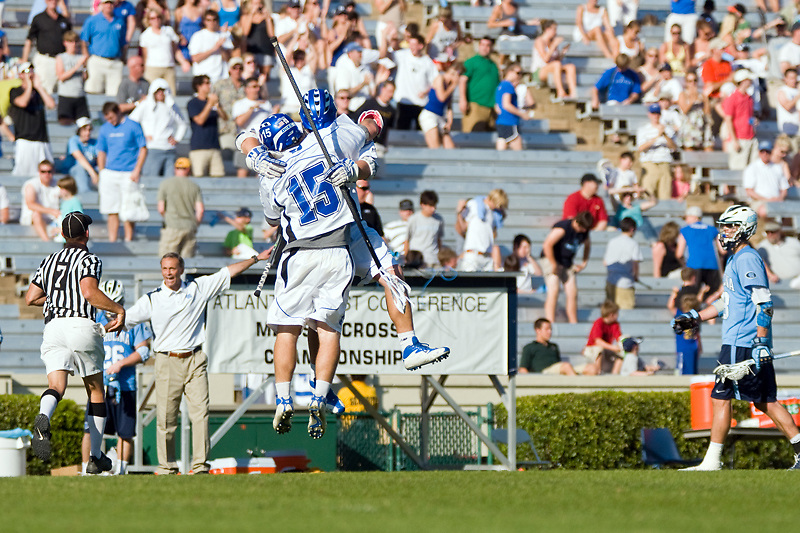 26 April 2009:Duke senior goalie 15 Rob Schroeder celebrates ACC Final victory...