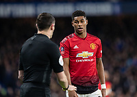 Football - 2018 / 2019 Emirates FA Cup - Fifth Round: Chelsea vs. Manchester United <br /> <br /> Marcus Rashford (Manchester United) gives look to the Assistant referee after he is fouled again at Stamford Bridge<br /> <br /> COLORSPORT/DANIEL BEARHAM