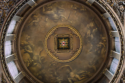 © Licensed to London News Pictures. 25/09/2016. LONDON, UK.  Dome detail at the Painted Hall. The 300 year old Painted Hall by James Thornhill at the Old Royal Naval College closes today for two years. Major restoration work to remove layers of dirt to the fine dining room will be undertaken in the main hall, ceiling and dome. The project has been awarded a £3.1m Heritage Lottery grant.  Photo credit: Vickie Flores/LNP