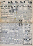 Front page of the Continental edition of the London 'Daily Mail' 25 October 1929 reporting the Wall Street Crash.