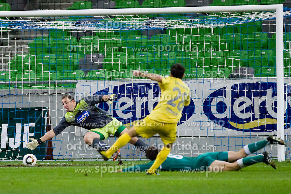 Mato Simunovic (NK Domzale, #28) scores a goal during football match between NK Olimpija and NK Domzale in second leg of quarter-final of Hervis Cup, on October 27, 2010 in Stadium Stozice, Ljubljana, Slovenia. Photo by Matic Klansek Velej / Sportida