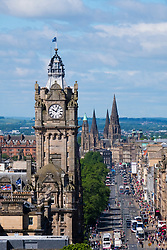 Skyline view of Edinburgh looking along Princes Street from Calton Hill, Scotland, United Kingdom.