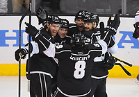 26 May 2014 The Kings Celebrate their First Goal of The Game by Los Angeles Kings defenseman Jake Muzzin 6  with to Assist by Los Angeles Kings defenseman Drew Doughty 8  during Game 4 of The Western Conference Final between The Chicago Blackhawks and The Los Angeles Kings AT The Staples Center in Los Angeles Approx NHL Ice hockey men USA May 26 Stanley Cup Playoffs Western Conference Final Blackhawks AT Kings Game 4 <br />
