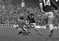 975-205<br /> Noel Skehan, the Kilkenny goalkeeper, comes off his line to make a fine save from a Galway forward during the All-Ireland hurling final at Croke Park.<br /> (Part of the Independent Newspapers Ireland/NLI collection.)