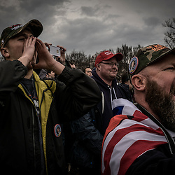 Supporters of President Elect Donald J. Trump react to the swearing in of the 45 President of the United States at the National Mall in Washington, D.C., Friday Jan. 20, 2017. ( William B. Plowman / REDUX Photo )
