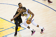 Golden State Warriors forward Kevin Durant (35) takes the ball to the basket against the Cleveland Cavaliers during Game 1 of the NBA Finals at Oracle Arena in Oakland, Calif., on May 31, 2018. (Stan Olszewski/Special to S.F. Examiner)