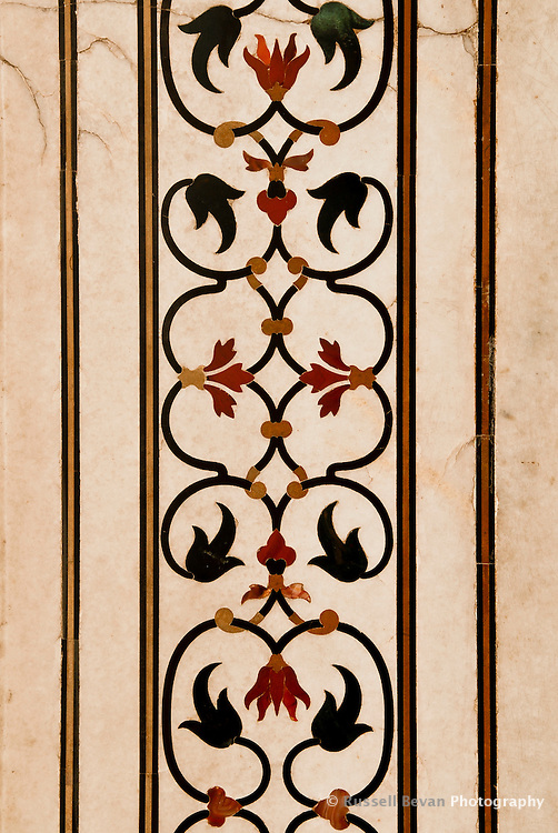 Stones Set in Marble  - Floral 'Parchin kari' inlay work, incorporating precious and semi-precious stones in the Taj Mahal in Agra, Uttar Pradesh, India