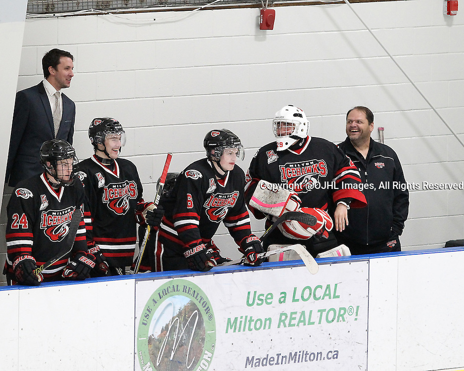 MILTON, ON - Oct 23, 2015 : Ontario Junior Hockey League game action between Kingston and Milton. Milton Ice Hawks Assistant Coach and Equipment Manager during the third period.<br /> (Photo by Tim Bates / OJHL Images)