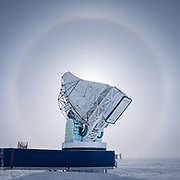 Sun halo framing the South Pole Telescope