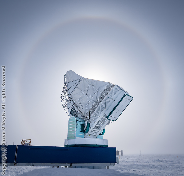 Sun halo framing the South Pole Telescope