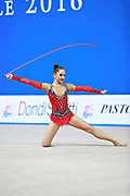 """Alexandrou Christina during rope routine at the International Tournament of rhythmic gymnastics """"Città di Pesaro"""", 02 April,2016. Alexandrou is an Cypriot individualistic gymnast, born in Nicosia, 27 February.<br /> This tournament dedicated to the youngest athletes is at the same time of the World Cup."""