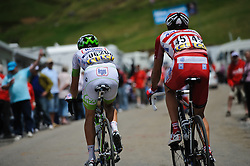 Thierry Huppond & Alberto Losada Alguacil on the top of the Col de la Joux Plane during stage 6 of the Criterium du Dauphine. Photo by Simon Parker/SPactionimages
