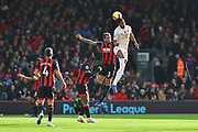 Marcus Rashford (10) of Manchester United leaps above Steve Cook (3) of AFC Bournemouth to head the ball during the Premier League match between Bournemouth and Manchester United at the Vitality Stadium, Bournemouth, England on 3 November 2018.