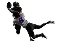 two american football players tackle in silhouette shadow on white background