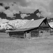 Mormon Row Barn - Grand Tetons, WY - Lensbaby - Infrared Black & White