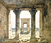 Ruins of the temple complex at Dendera: View looking out between two columns towards gateway (pylon). Watercolour by Hector Horeau (1801-1872) French architect. Ancient Egypt Archaeology Religion Mythology