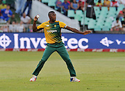Kagiso Rabada of South Africa during the 2016 T20 International Series match between South Africa and Australia in Kingsmead Stadium Durban, Kwa-Zulu Natal on 04 March 2016©Muzi Ntombela/Backpagepix