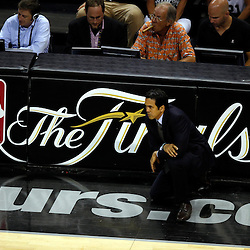 Jun 16, 2013; San Antonio, TX, USA; Miami Heat head coach Erik Spoelstra looks on during the third quarter of game five in the 2013 NBA Finals against the San Antonio Spurs at the AT&T Center. Mandatory Credit: Derick E. Hingle-USA TODAY Sports
