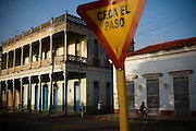 Colonial buildings across from the main plaza in Remedios, Cuba on Friday July 18, 2008.