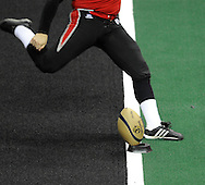 Jason Ball kicks off for Cleveland during the Gladiators' 61-48 win in their Arena Football League debut on March 3, 2008 at Quicken Loans Arena in  Cleveland against visiting New York Dragons.