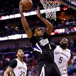 Mar 7, 2016; New Orleans, LA, USA; New Orleans Pelicans center Kendrick Perkins (5) fouls Sacramento Kings forward Rudy Gay (8) on a shot during the first quarter of a game at the Smoothie King Center. Mandatory Credit: Derick E. Hingle-USA TODAY Sports