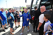 The Oldham Players arrive during the EFL Sky Bet League 1 match between Northampton Town and Oldham Athletic at Sixfields Stadium, Northampton, England on 5 May 2018. Picture by Dennis Goodwin.
