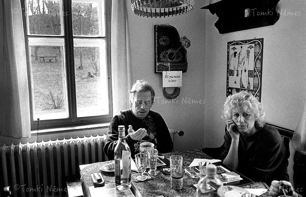 Vaclav and Olga Havel at the cottage Hradecek,North Bohemia, spring, 1990