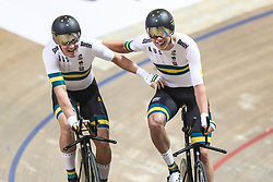 February 28, 2019 - Pruszkow, Poland - Kelland O'Brien (AUS) Alexander Porter (AUS) - Men's team pursuit on day two of the UCI Track Cycling World Championships held in the BGZ BNP Paribas Velodrome Arena on February 28, 2019 in Pruszkow, Poland. (Credit Image: © Foto Olimpik/NurPhoto via ZUMA Press)