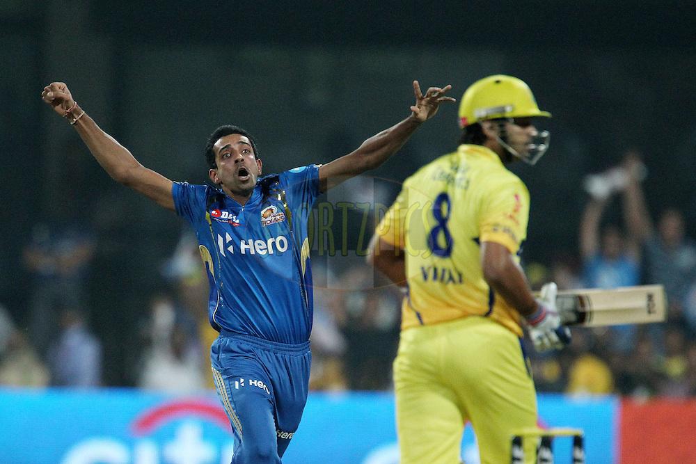 Dhawal Kulkarni celebrates the wicket of Murali Vijay during The IPL 2012, Season 5, eliminator match between The Mumbai Indians and The Chennai Superkings held at the M. Chinnaswamy Stadium, Bengaluru on the 23rd May 2012..Photo by Ron Gaunt/IPL/SPORTZPICS