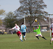 Krystian Kunc (9) makes the score 1-1 for FC Polonia (white) v Dundee Social (ligtht blue) during the Association Cup semi final  at Fairmuir, Dundee, Photo: David Young<br /> <br />  - &copy; David Young - www.davidyoungphoto.co.uk - email: davidyoungphoto@gmail.com