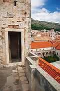 Watch tower entrance along the ancient city wall, old town Dubrovnik, Dalmatian Coast, Croatia